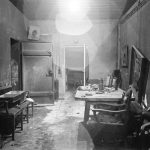 Fuhrer Adolf Hitler's command center conference room partially burned out by SS troops and stripped of evidence by invading Russians, in bunker under the Reichschancellery after Hitler's suicide.  (Photo by William Vandivert/The LIFE Picture Collection/Getty Images)